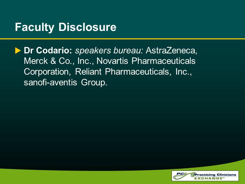 Faculty Disclosure Dr Codario: speakers bureau: AstraZeneca, Merck & Co., Inc., Novartis Pharmaceuticals Corporation, Reliant Pharmaceuticals, Inc., sanofi-aventis Group.