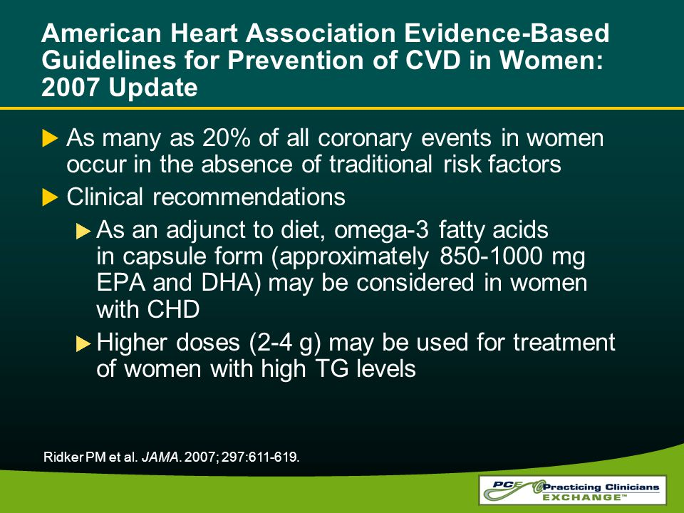 American Heart Association Evidence-Based Guidelines for Prevention of CVD in Women: 2007 Update As many as 20% of all coronary events in women occur