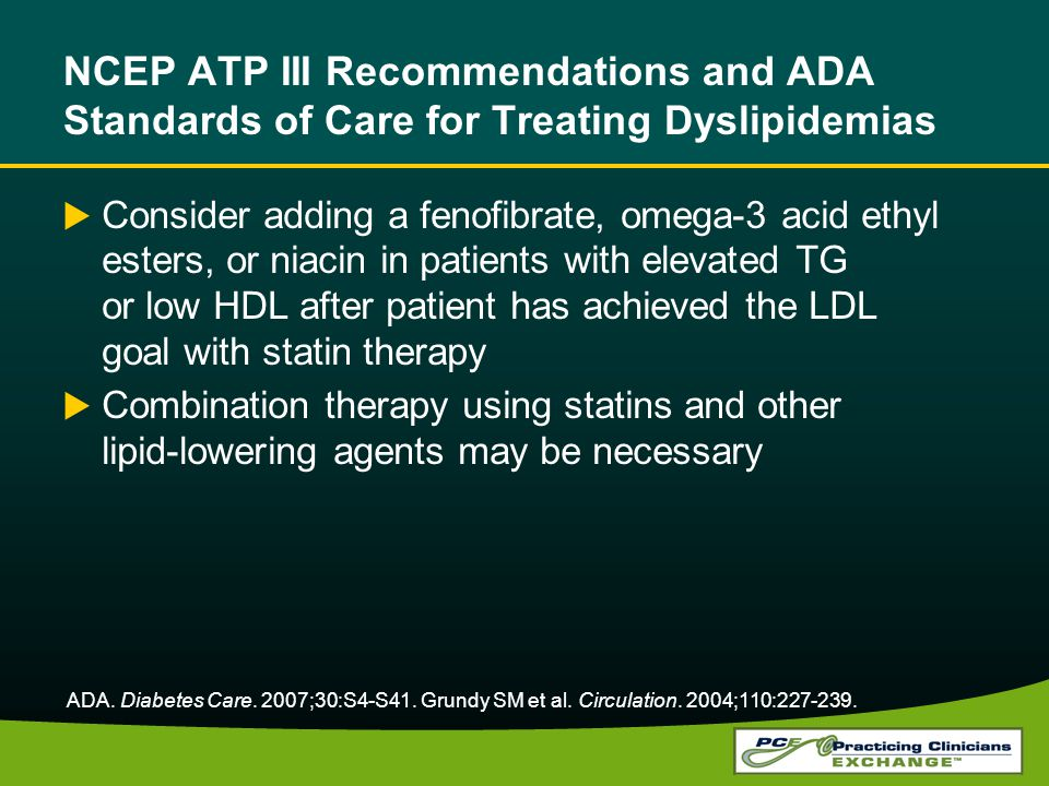 NCEP ATP III Recommendations and ADA Standards of Care for Treating Dyslipidemias Consider adding a fenofibrate, omega-3 acid ethyl esters, or niacin in patients with elevated TG or low HDL after patient has achieved the LDL goal with statin therapy Combination therapy using statins and other lipid-lowering agents may be necessary ADA.
