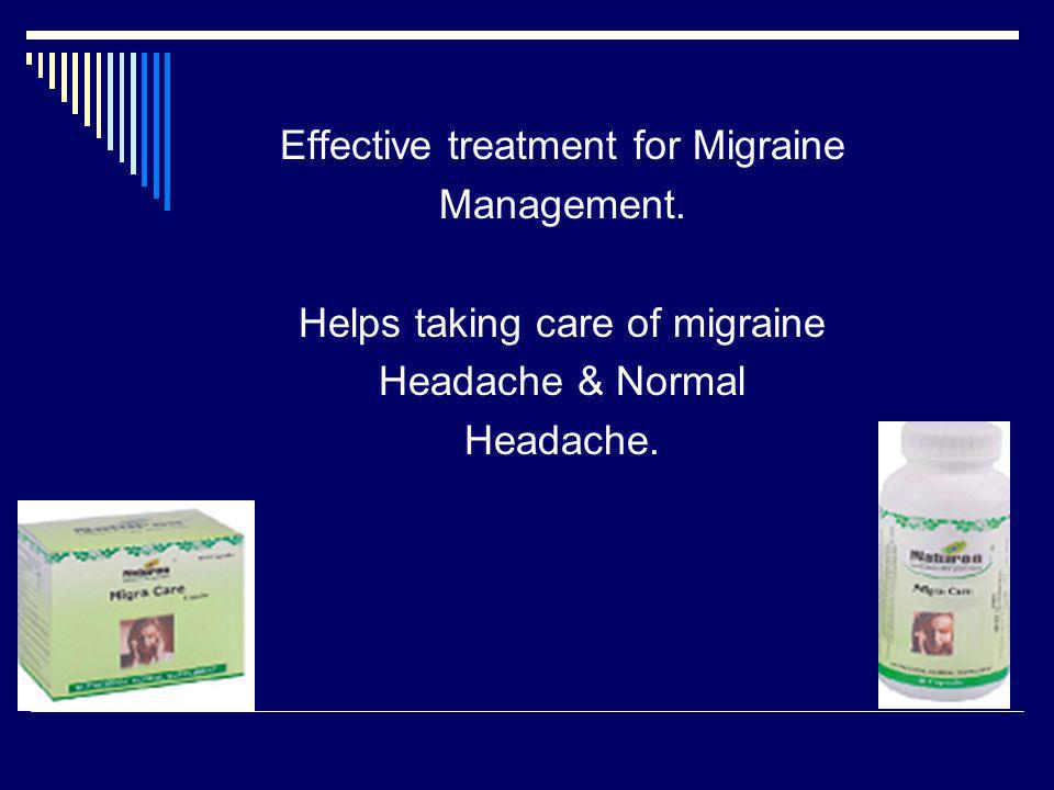 Effective treatment for Migraine Management. Helps taking care of migraine Headache & Normal Headache.