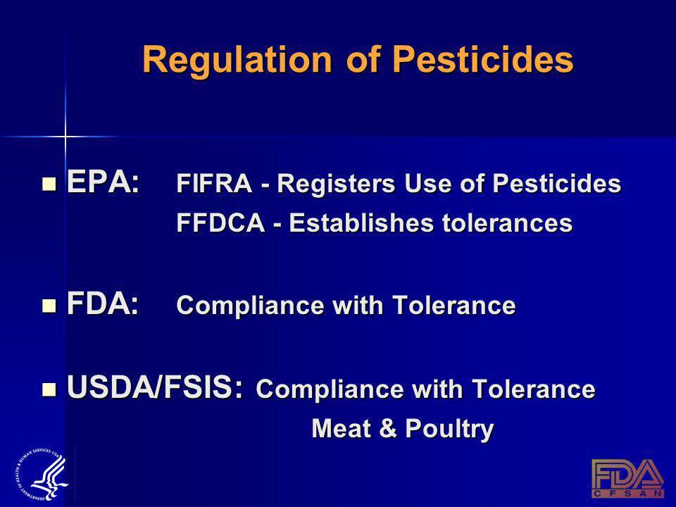 Regulation of Pesticides EPA: FIFRA - Registers Use of Pesticides EPA: FIFRA - Registers Use of Pesticides FFDCA - Establishes tolerances FDA: Compliance with Tolerance FDA: Compliance with Tolerance USDA/FSIS: Compliance with Tolerance USDA/FSIS: Compliance with Tolerance Meat & Poultry Meat & Poultry