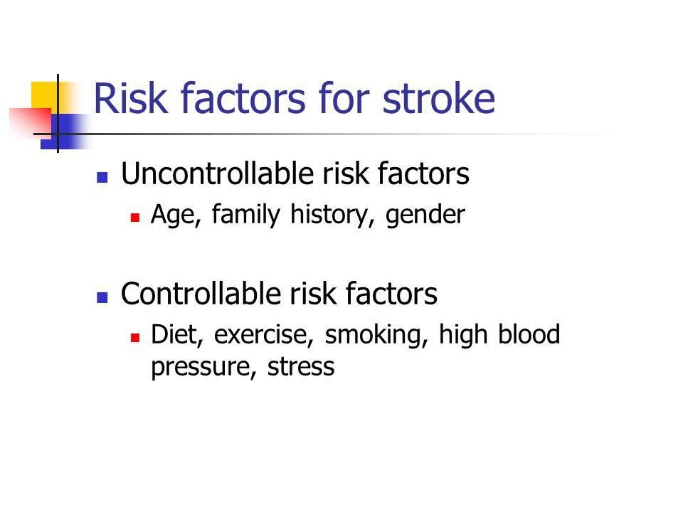 Risk factors for stroke Uncontrollable risk factors Age, family history, gender Controllable risk factors Diet, exercise, smoking, high blood pressure