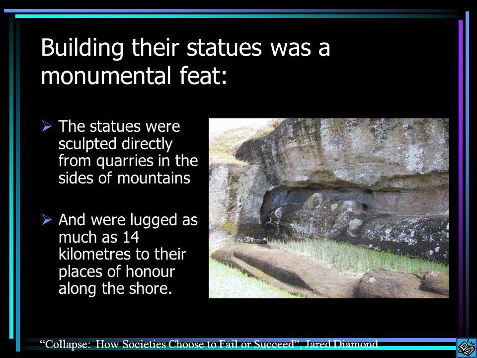 Building their statues was a monumental feat: The statues were sculpted directly from quarries in the sides of mountains And were lugged as much as 14 kilometres to their places of honour along the shore.