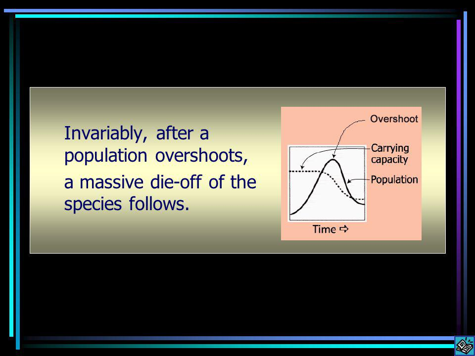 Invariably, after a population overshoots, a massive die-off of the species follows.