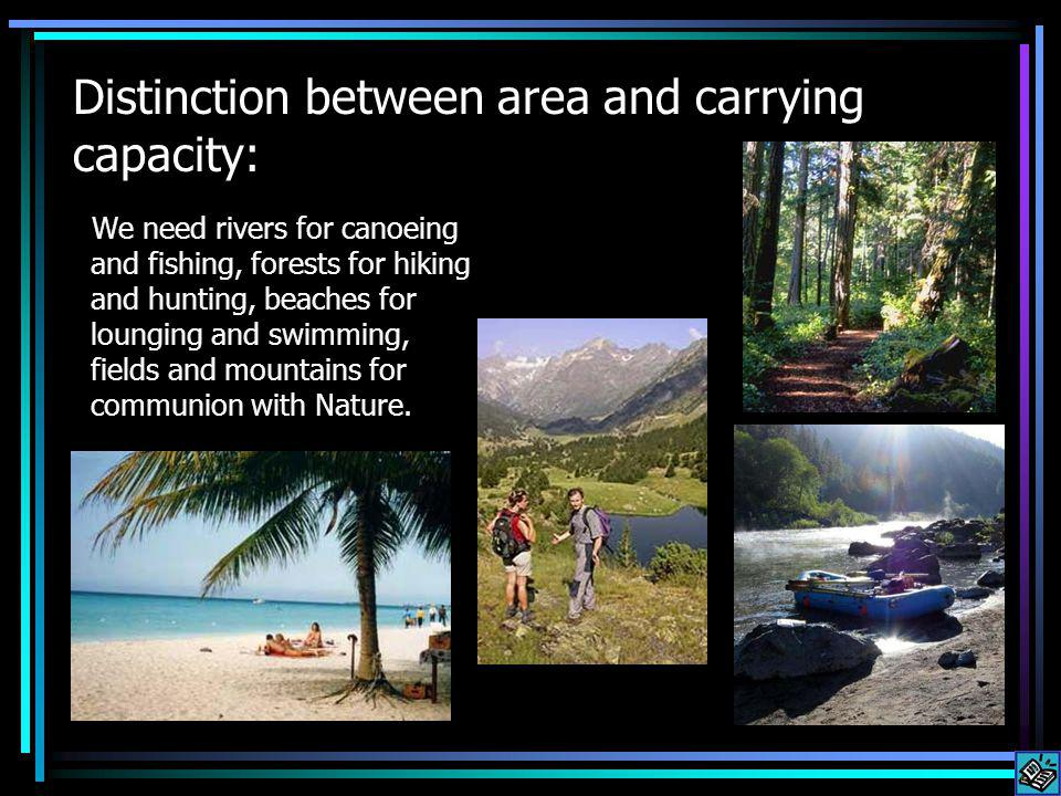 Distinction between area and carrying capacity: We need rivers for canoeing and fishing, forests for hiking and hunting, beaches for lounging and swimming, fields and mountains for communion with Nature.