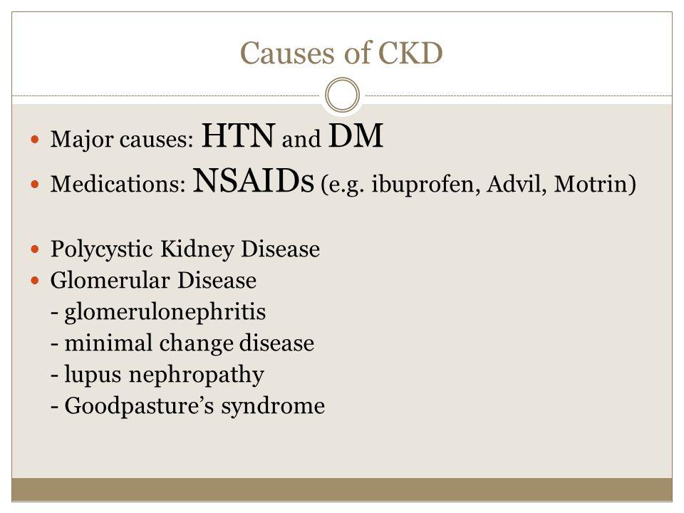 Causes of CKD Major causes: HTN and DM Medications: NSAIDs (e.g. ibuprofen, Advil, Motrin) Polycystic Kidney Disease Glomerular Disease - glomerulonep
