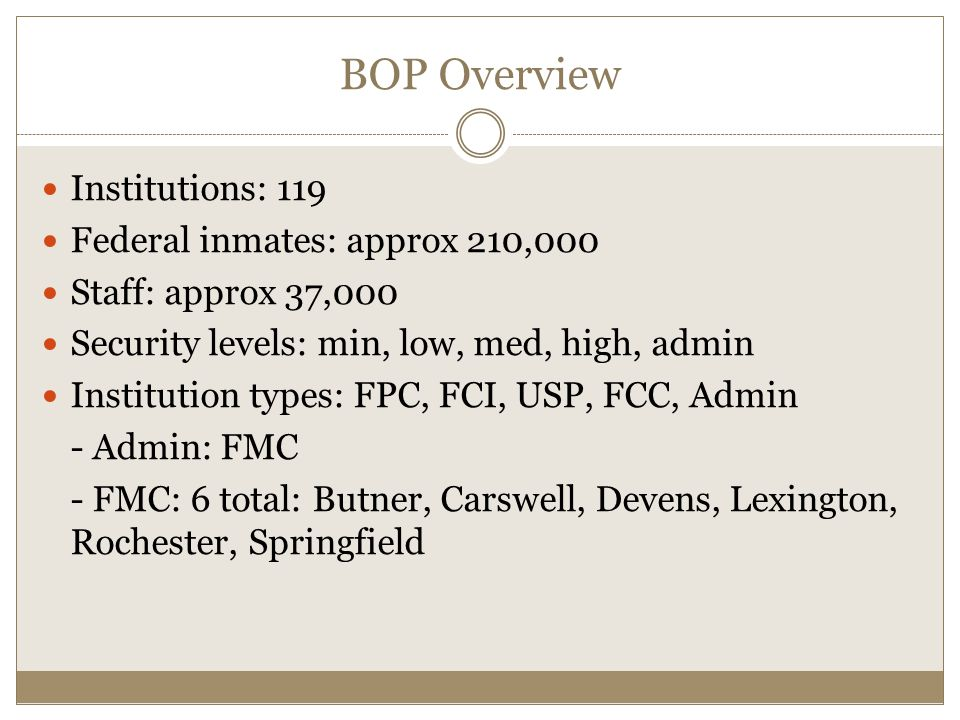 BOP Overview Institutions: 119 Federal inmates: approx 210,000 Staff: approx 37,000 Security levels: min, low, med, high, admin Institution types: FPC