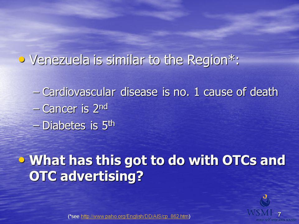 7 Venezuela is similar to the Region*: Venezuela is similar to the Region*: –Cardiovascular disease is no. 1 cause of death –Cancer is 2 nd –Diabetes