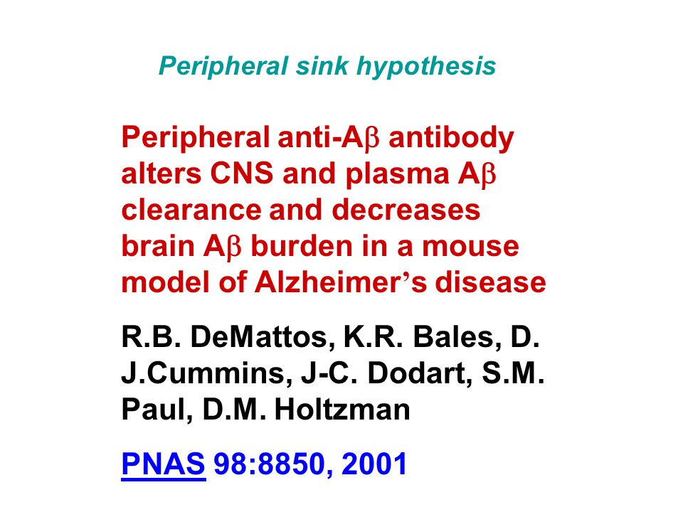Peripheral anti-A antibody alters CNS and plasma A clearance and decreases brain A burden in a mouse model of Alzheimer s disease R.B.