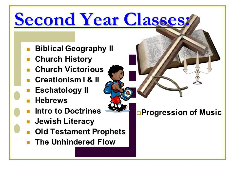 Second Year Classes: Biblical Geography II Church History Church Victorious Creationism I & II Eschatology II Hebrews Intro to Doctrines Jewish Litera