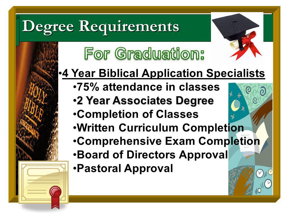 Degree Requirements 4 Year Biblical Application Specialists 75% attendance in classes 2 Year Associates Degree2 Year Associates Degree Completion of Classes Written Curriculum Completion Comprehensive Exam Completion Board of Directors Approval Pastoral Approval