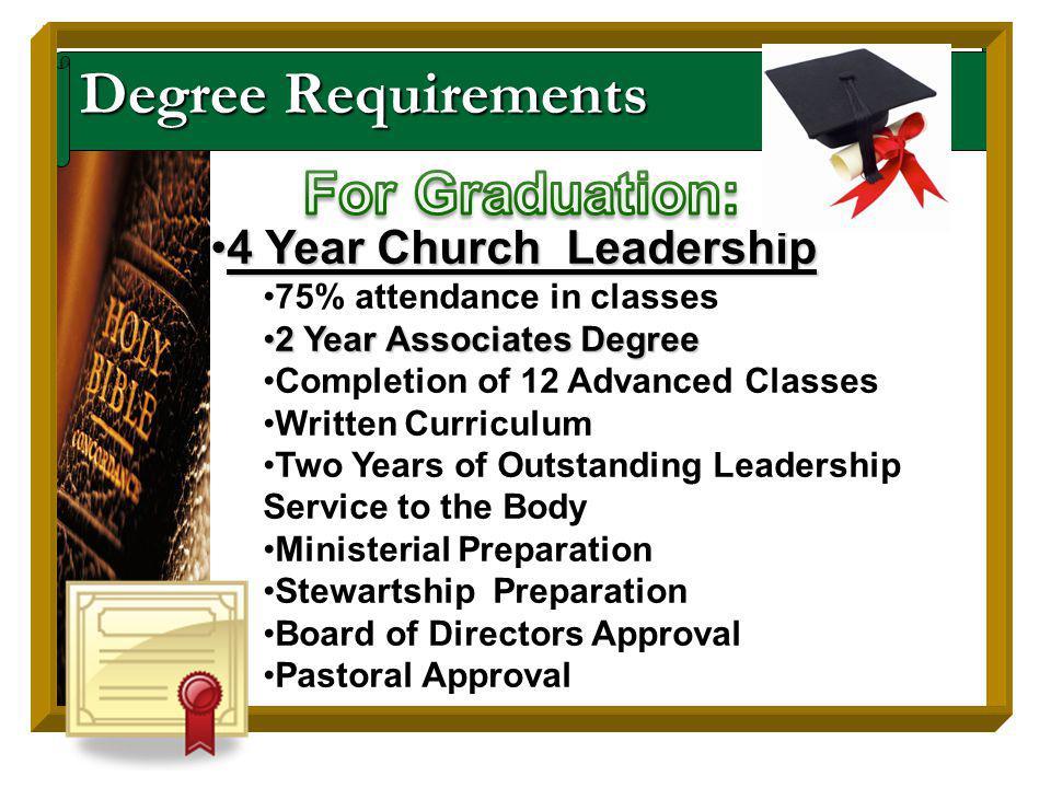 Degree Requirements 4 Year Church Leadership4 Year Church Leadership 75% attendance in classes 2 Year Associates Degree2 Year Associates Degree Comple