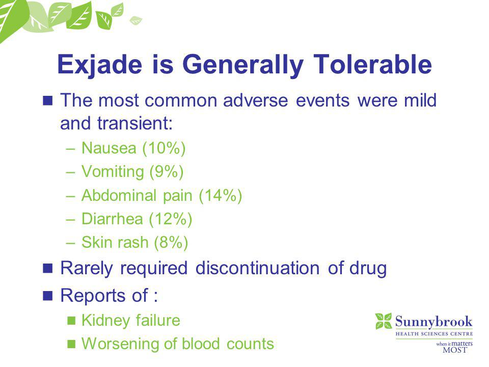 Exjade is Generally Tolerable n The most common adverse events were mild and transient: –Nausea (10%) –Vomiting (9%) –Abdominal pain (14%) –Diarrhea (12%) –Skin rash (8%) n Rarely required discontinuation of drug n Reports of : n Kidney failure n Worsening of blood counts