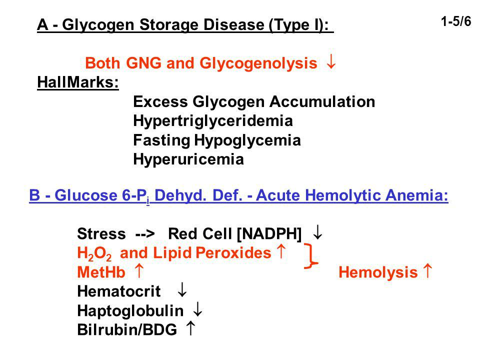 A - Glycogen Storage Disease (Type I): Both GNG and Glycogenolysis HallMarks: Excess Glycogen Accumulation Hypertriglyceridemia Fasting Hypoglycemia H