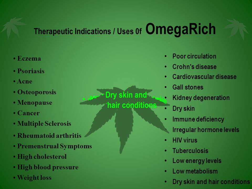 Therapeutic Indications / Uses 0f OmegaRich Eczema Psoriasis Acne Osteoporosis Menopause Cancer Multiple Sclerosis Rheumatoid arthritis Premenstrual Symptoms High cholesterol High blood pressure Weight loss Poor circulation Crohn s disease Cardiovascular disease Gall stones Kidney degeneration Dry skin Immune deficiency Irregular hormone levels HIV virus Tuberculosis Low energy levels Low metabolism Dry skin and hair conditions Dry skin and hair conditions