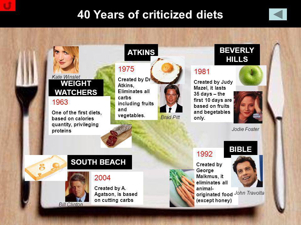 Nicola Ghelfi - The Global Pasta Market ATKINS BEVERLY HILLS SOUTH BEACH 40 Years of criticized diets 1963 One of the first diets, based on calories q