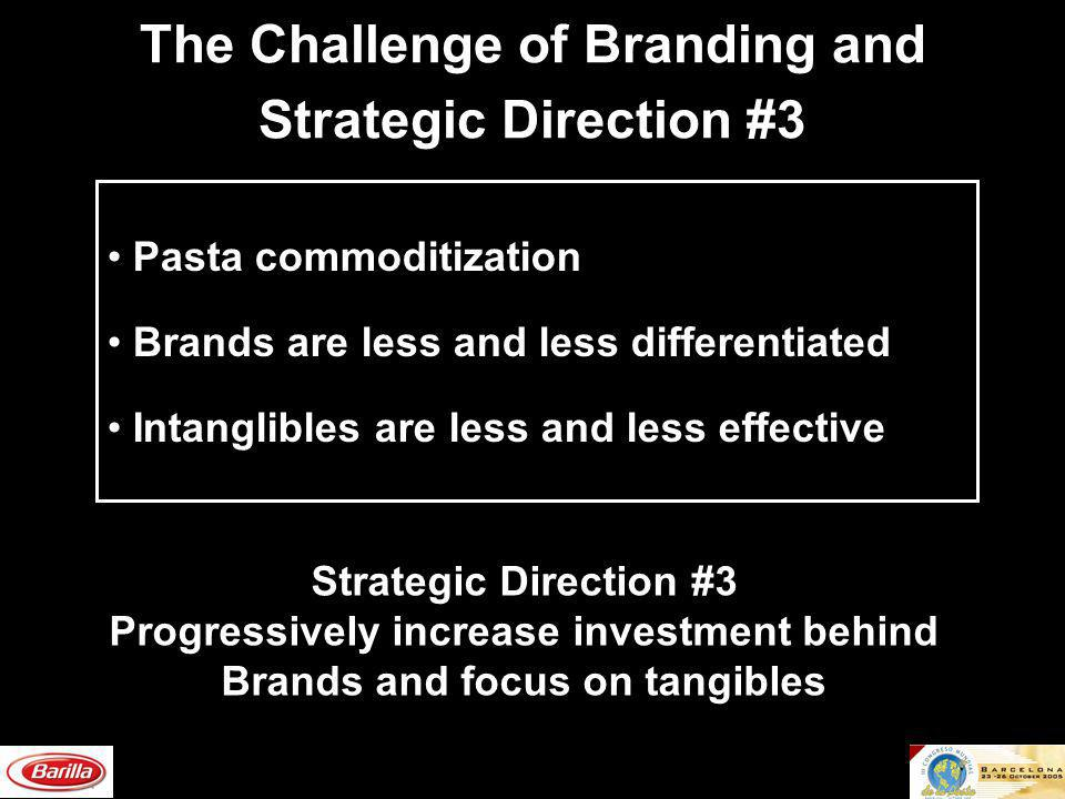 The Challenge of Branding and Strategic Direction #3 Pasta commoditization Brands are less and less differentiated Intanglibles are less and less effective Strategic Direction #3 Progressively increase investment behind Brands and focus on tangibles