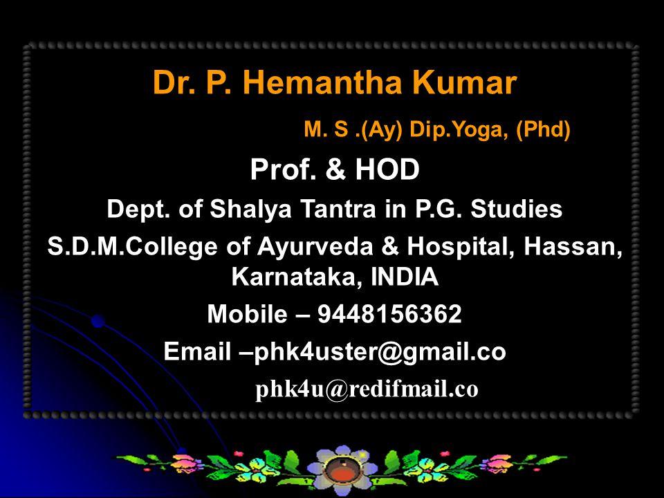 Dr.P. Hemantha Kumar M. S.(Ay) Dip.Yoga, (Phd) Prof.