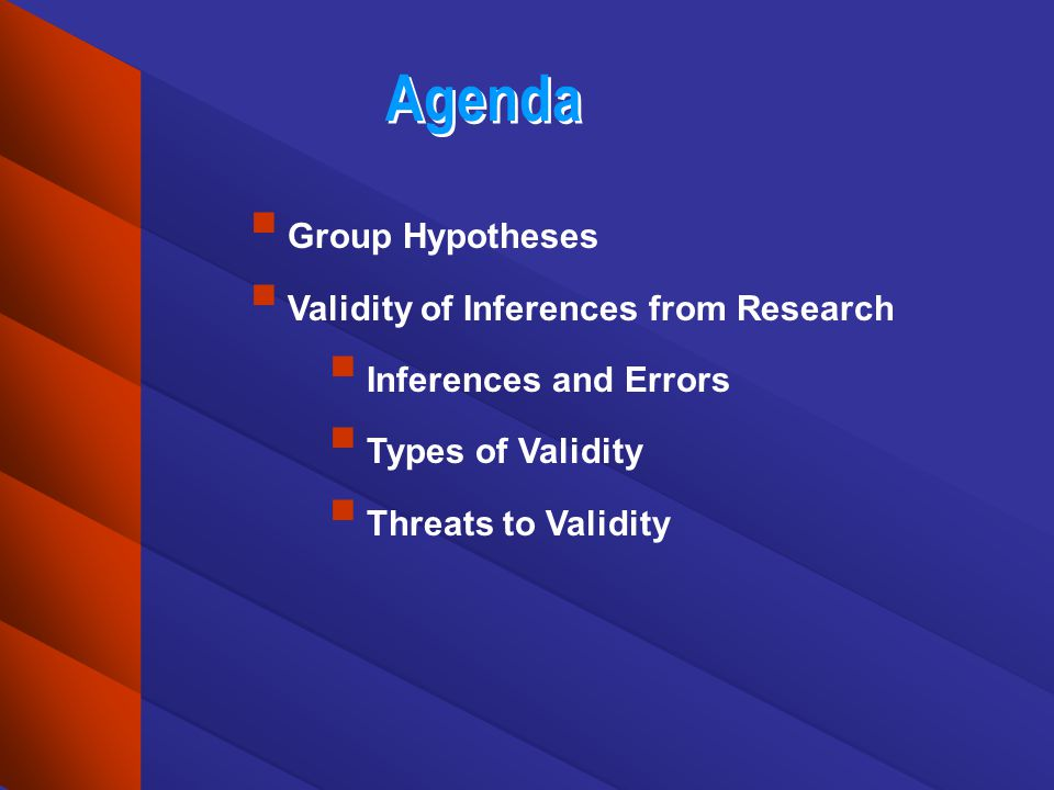 Agenda Group Hypotheses Validity of Inferences from Research Inferences and Errors Types of Validity Threats to Validity
