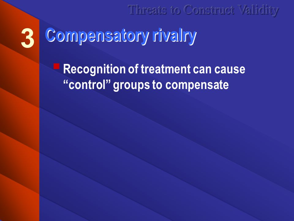 Compensatory rivalry Recognition of treatment can cause control groups to compensate 3