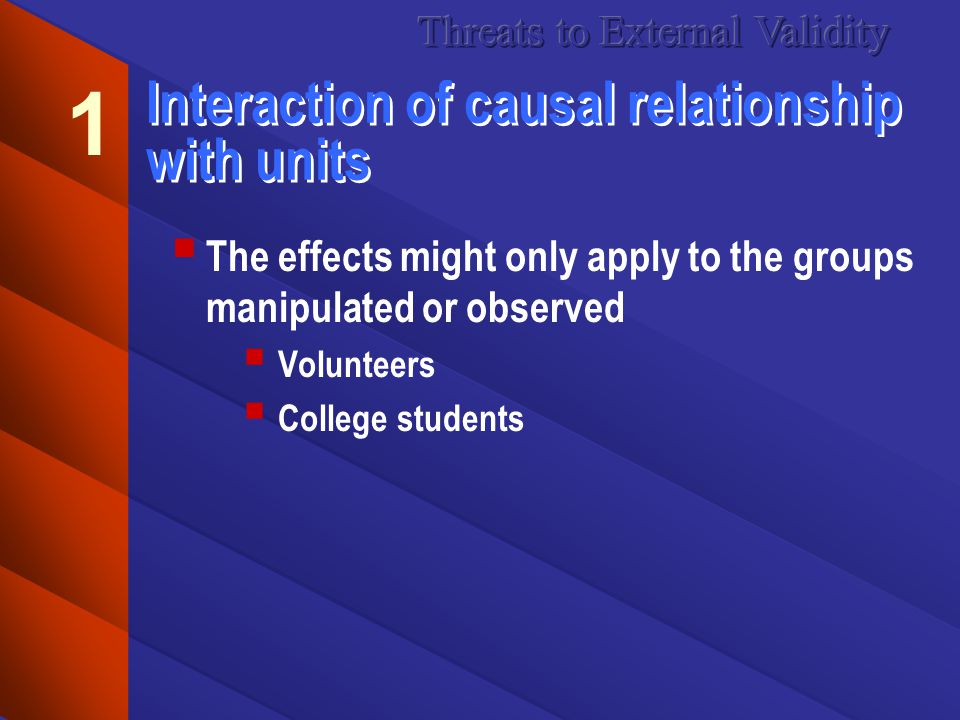 Interaction of causal relationship with units The effects might only apply to the groups manipulated or observed Volunteers College students 1