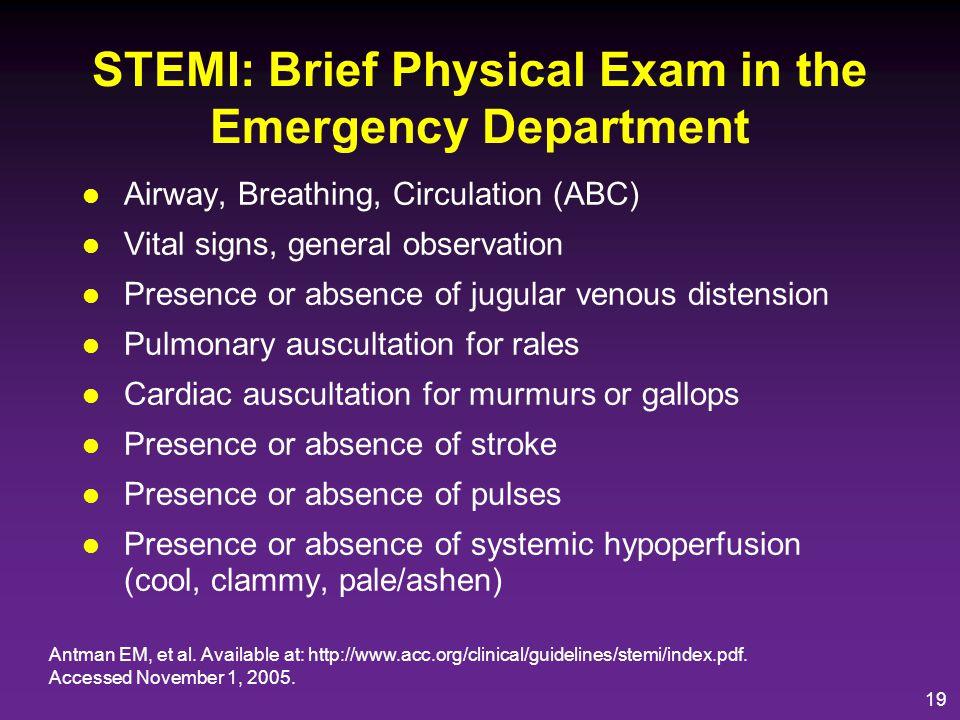 20 STEMI: Acute Medical Therapy General treatment measures Antman EM, et al.