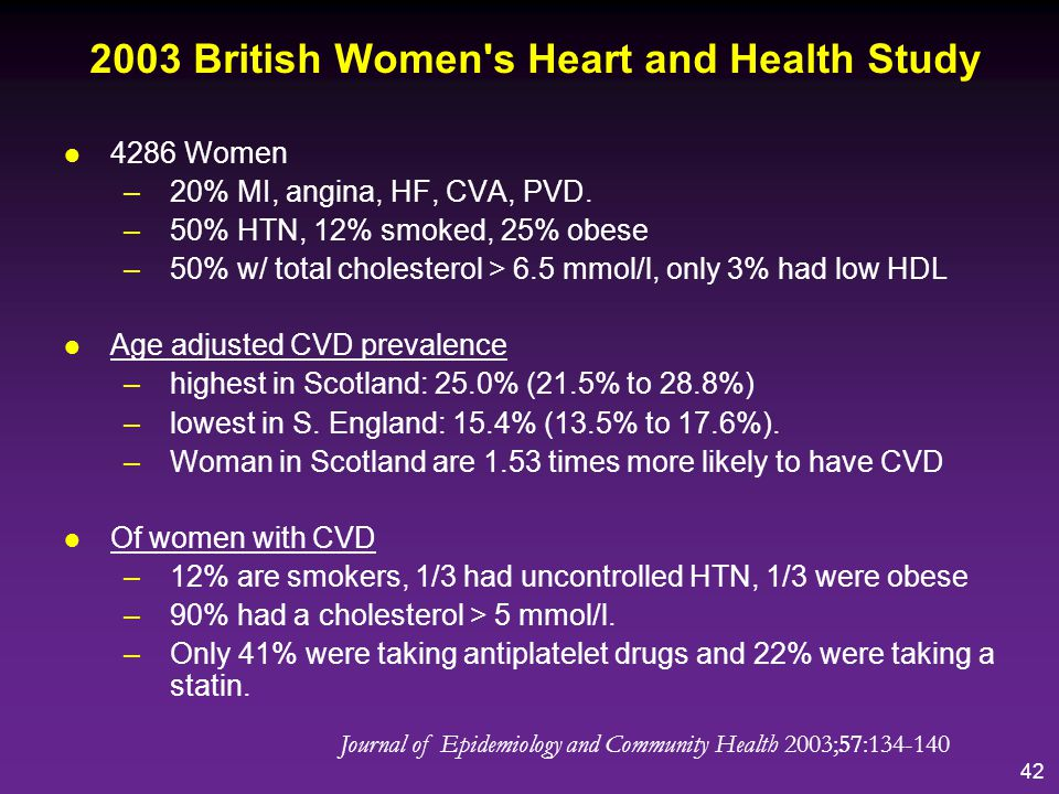 43 In Scotland Coronary Heart Disease –one of the leading causes of death 10,331 deaths in 2005 –Scotland has one of the highest death rates from CHD in the western world –Due to high rates of smoking poor diet deprivation