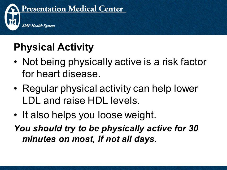 Physical Activity Not being physically active is a risk factor for heart disease. Regular physical activity can help lower LDL and raise HDL levels. I