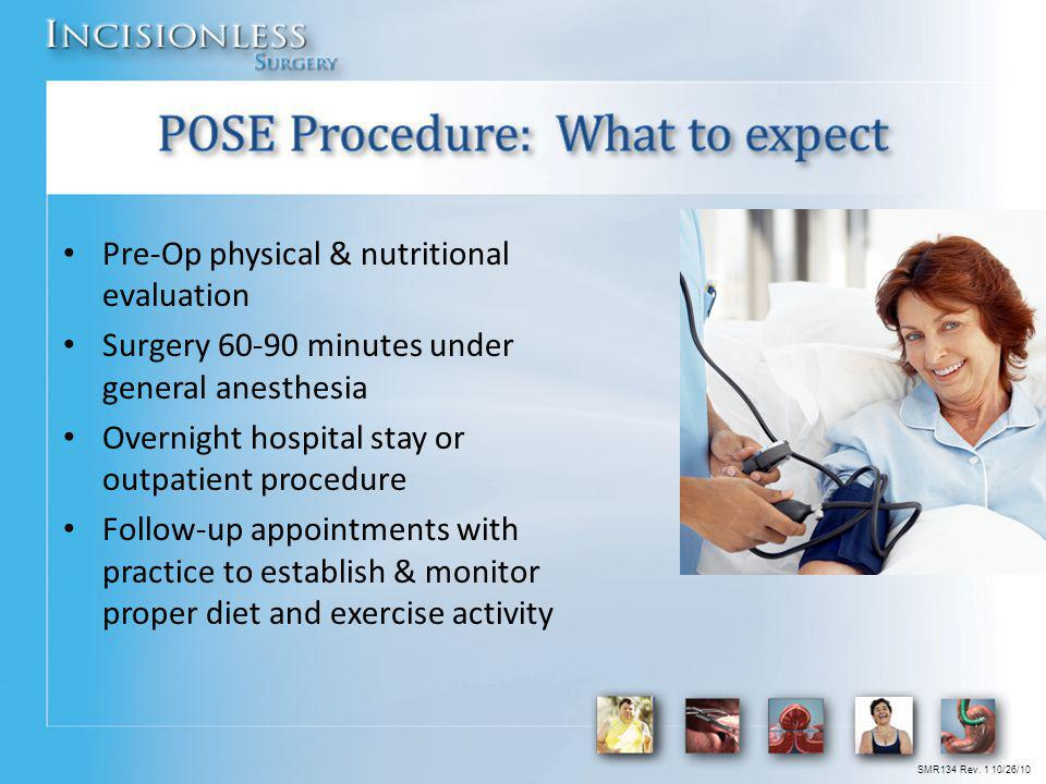 Pre-Op physical & nutritional evaluation Surgery 60-90 minutes under general anesthesia Overnight hospital stay or outpatient procedure Follow-up appo
