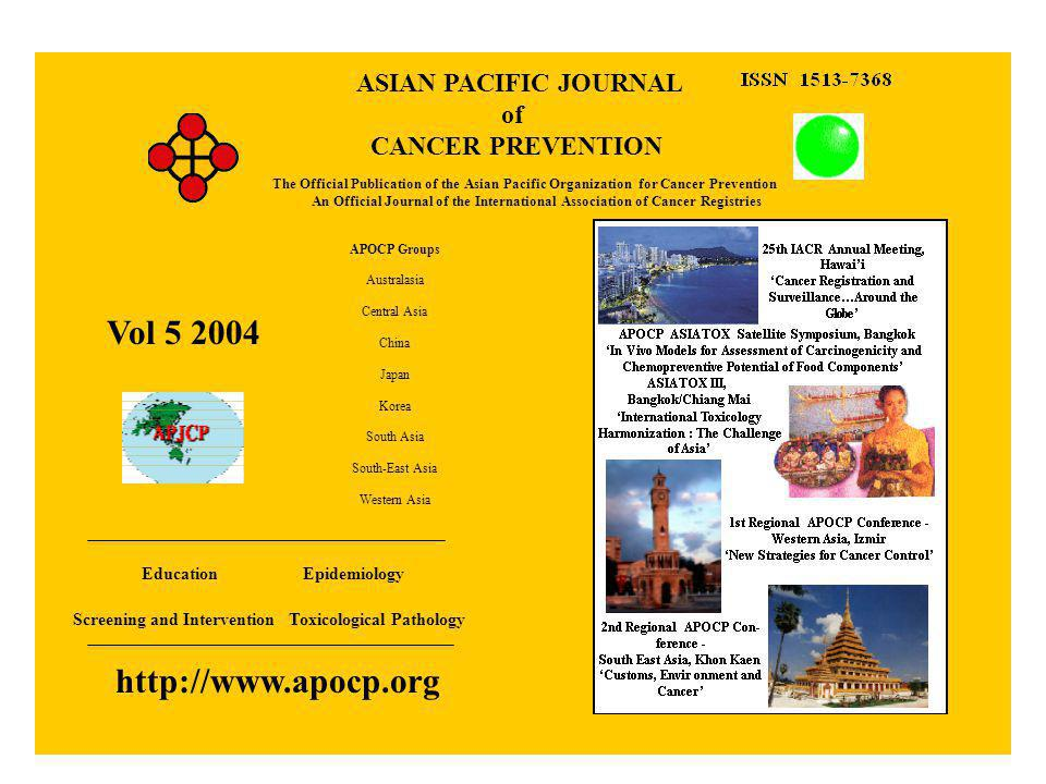 Aims and Scope Asian Pacific Journal of Cancer Prevention Contents - Volume 1 - Volume 2 - Volume 3 - Volume 4 - Volume 5 Constitution Information for APJCP Information for Authors Information for Subscribers Events Members Aims and Scope The aim of the APOCP and its official journal the APJCP is to promote an increased awareness in all areas of cancer prevention and to stimulate practical intervention approaches.