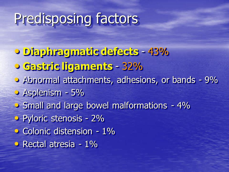 Predisposing factors Diaphragmatic defects - 43% Diaphragmatic defects - 43% Gastric ligaments - 32% Gastric ligaments - 32% Abnormal attachments, adh