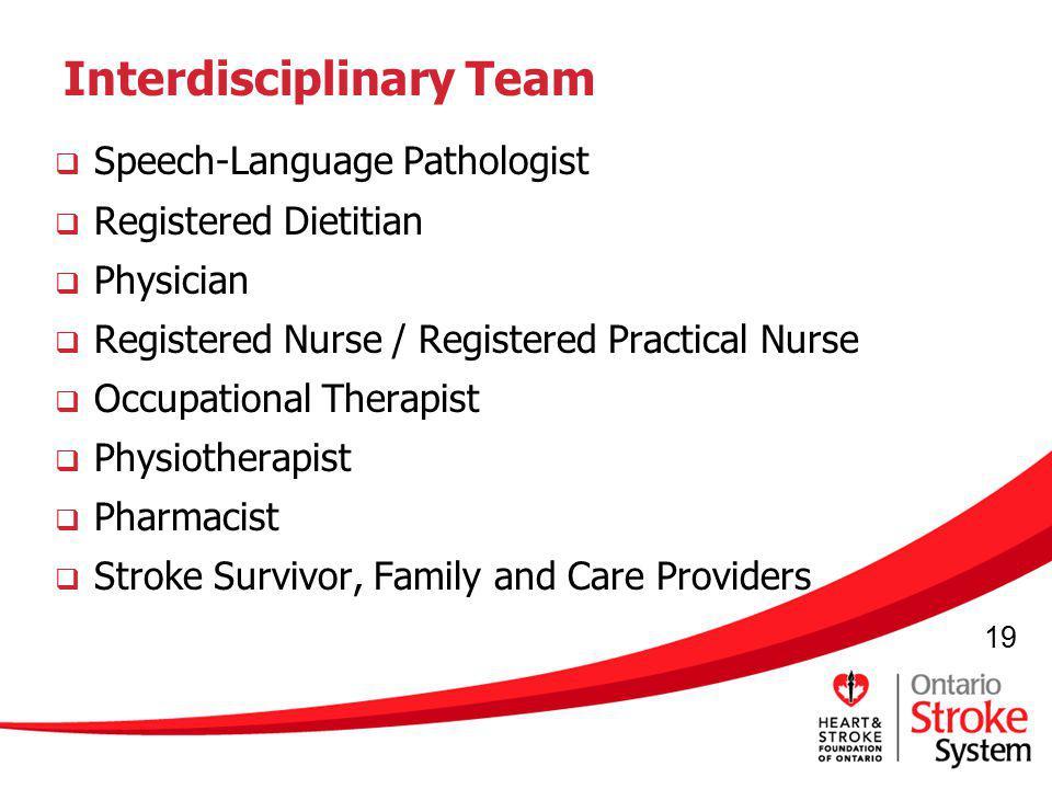 19 Interdisciplinary Team Speech-Language Pathologist Registered Dietitian Physician Registered Nurse / Registered Practical Nurse Occupational Therap