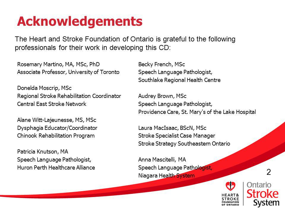 2 Acknowledgements Rosemary Martino, MA, MSc, PhD Associate Professor, University of Toronto Donelda Moscrip, MSc Regional Stroke Rehabilitation Coord