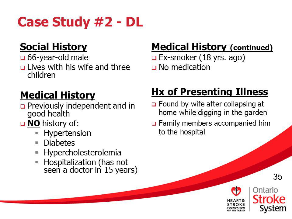 35 Case Study #2 - DL Social History 66-year-old male Lives with his wife and three children Medical History Previously independent and in good health