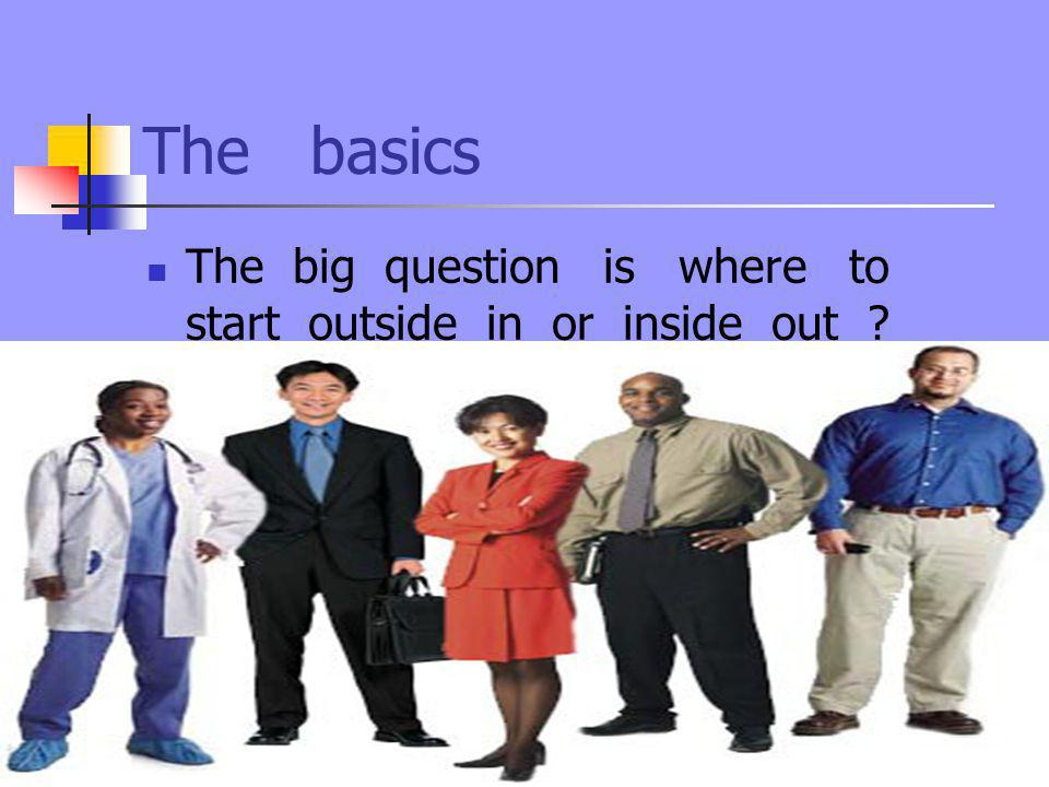 The basics The big question is where to start outside in or inside out