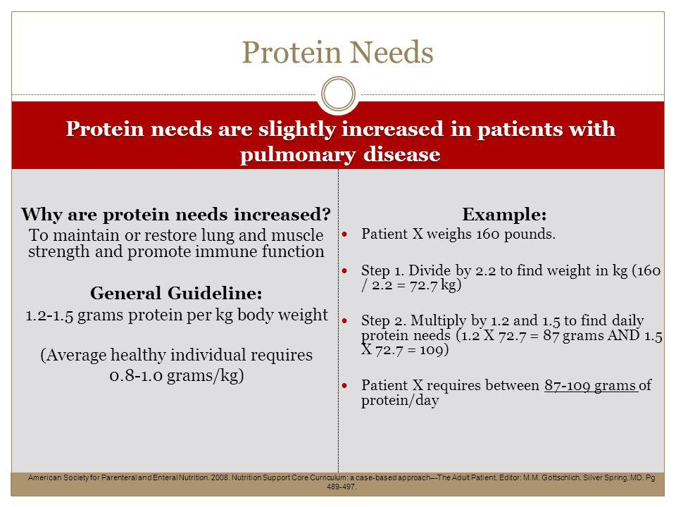 Protein needs are slightly increased in patients with pulmonary disease Why are protein needs increased.