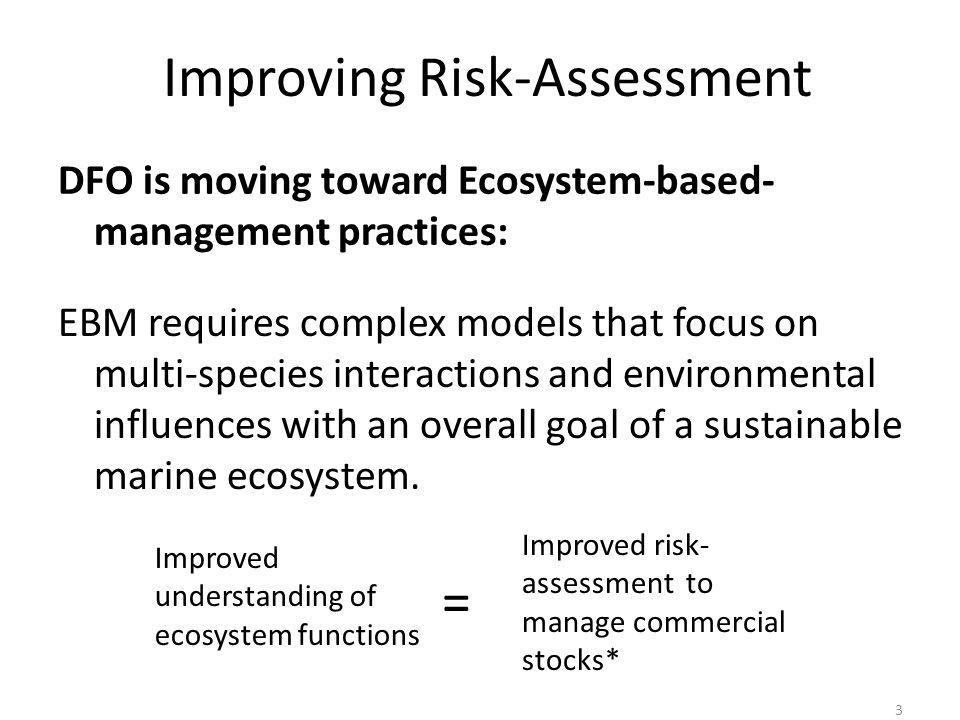 3 Improving Risk-Assessment DFO is moving toward Ecosystem-based- management practices: Improved understanding of ecosystem functions Improved risk- assessment to manage commercial stocks* = EBM requires complex models that focus on multi-species interactions and environmental influences with an overall goal of a sustainable marine ecosystem.