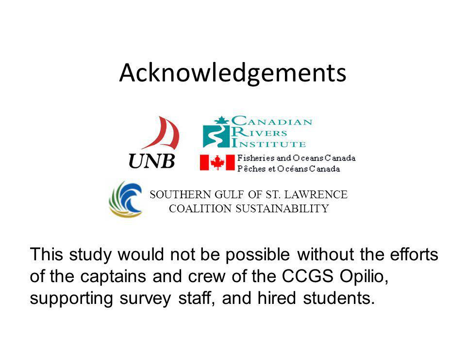 Acknowledgements This study would not be possible without the efforts of the captains and crew of the CCGS Opilio, supporting survey staff, and hired students.