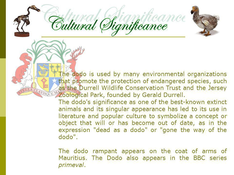 The dodo is used by many environmental organizations that promote the protection of endangered species, such as the Durrell Wildlife Conservation Trust and the Jersey Zoological Park, founded by Gerald Durrell.