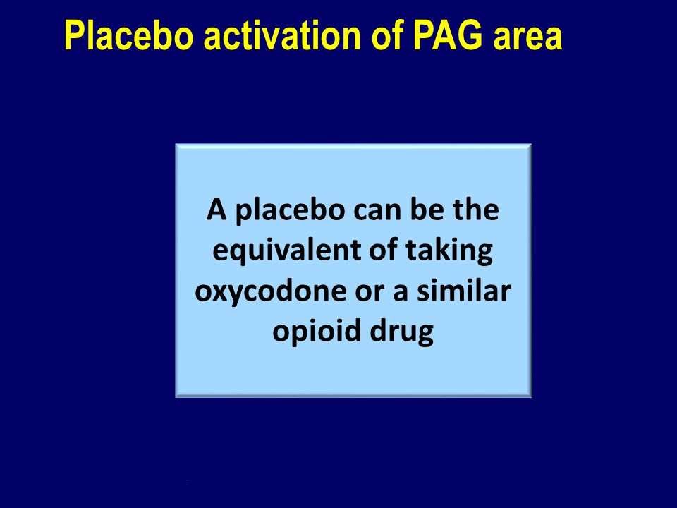 Placebo activation of PAG area Pain + opioid Pain alone Pain + placebo The placebo effect is due to activation of the descending pain system via the P