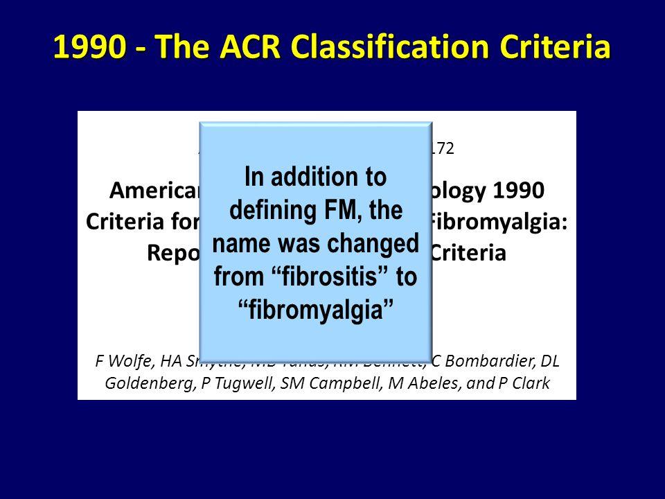 Arthritis Rheum. 1990;33:160-172 American College of Rheumatology 1990 Criteria for the Classification of Fibromyalgia: Report of the Multicenter Crit
