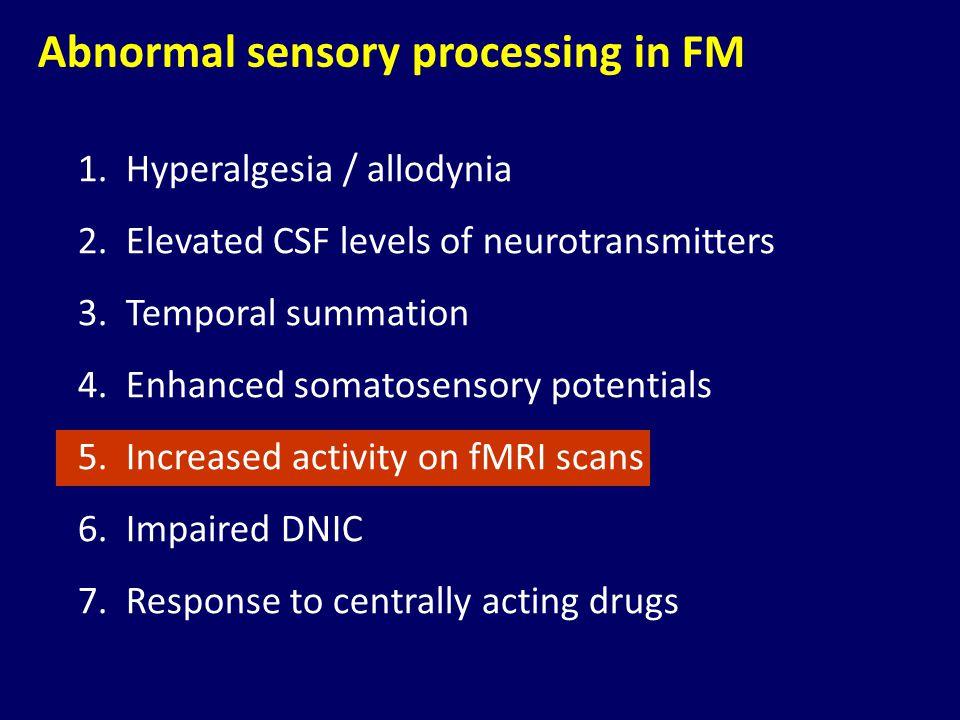 Abnormal sensory processing in FM 1.Hyperalgesia / allodynia 2.Elevated CSF levels of neurotransmitters 3.Temporal summation 4.Enhanced somatosensory