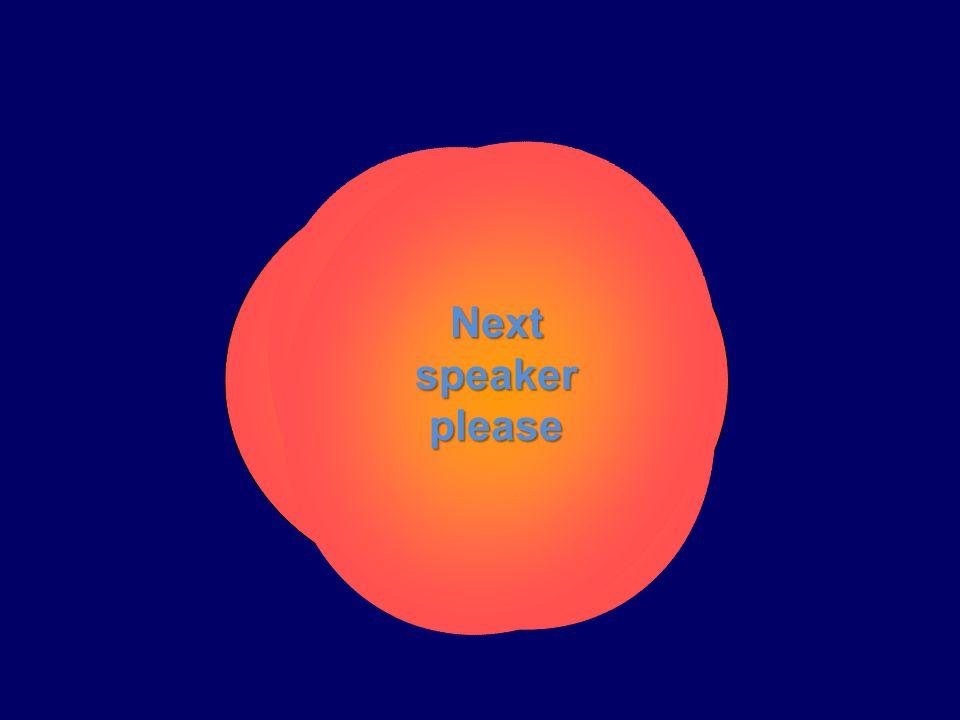 Next speaker please