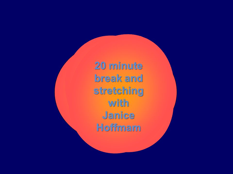 20 minute break and stretching with Janice Hoffmam