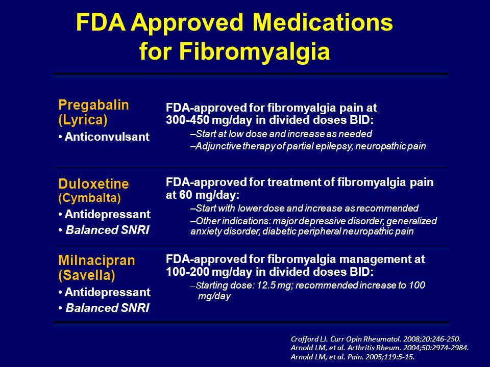 Crofford LJ. Curr Opin Rheumatol. 2008;20:246-250. Arnold LM, et al. Arthritis Rheum. 2004;50:2974-2984. Arnold LM, et al. Pain. 2005;119:5-15. FDA Ap