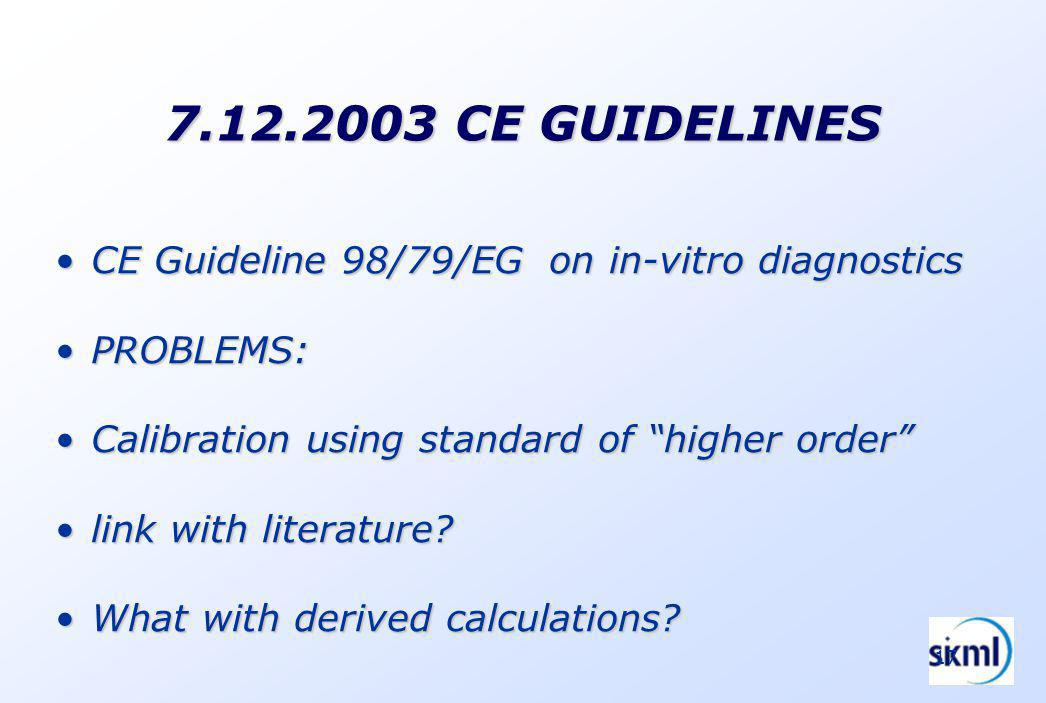 17 7.12.2003 CE GUIDELINES CE Guideline 98/79/EG on in-vitro diagnosticsCE Guideline 98/79/EG on in-vitro diagnostics PROBLEMS:PROBLEMS: Calibration using standard of higher orderCalibration using standard of higher order link with literature link with literature.