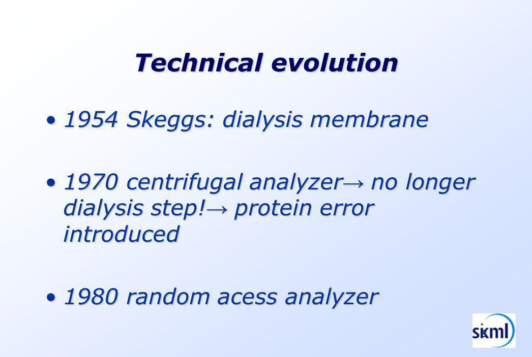8 Technical evolution 1954 Skeggs: dialysis membrane1954 Skeggs: dialysis membrane 1970 centrifugal analyzer no longer dialysis step.