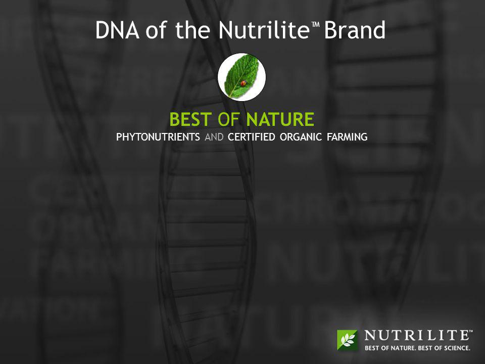 BEST OF NATURE + BEST OF SCIENCE = BEST OF YOU BEST OF NATURE + BEST OF SCIENCE = BEST OF YOU DNA of the Nutrilite Brand