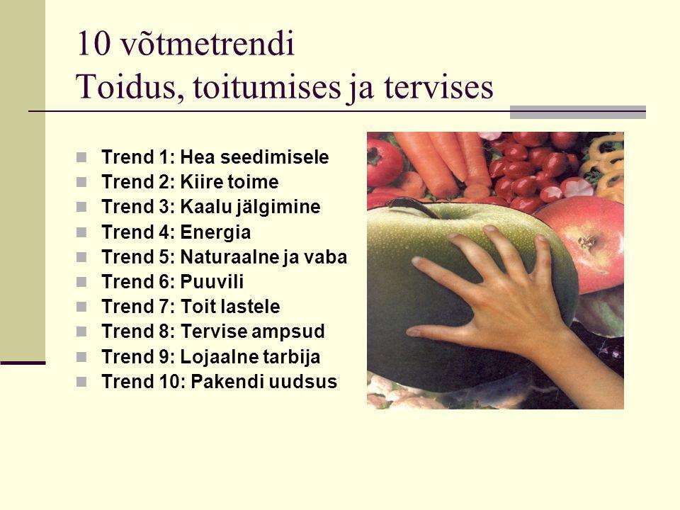 10 võtmetrendi Toidus, toitumises ja tervises Trend 1: Hea seedimisele Trend 2: Kiire toime Trend 3: Kaalu jälgimine Trend 4: Energia Trend 5: Naturaalne ja vaba Trend 6: Puuvili Trend 7: Toit lastele Trend 8: Tervise ampsud Trend 9: Lojaalne tarbija Trend 10: Pakendi uudsus