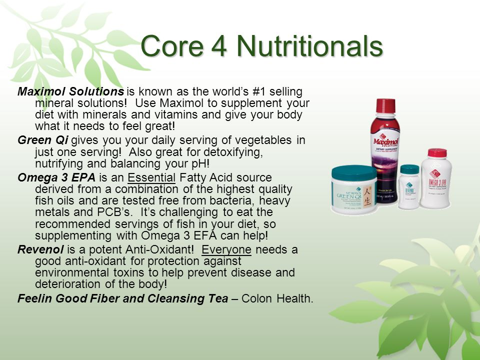 Core 4 Nutritionals Maximol Solutions is known as the worlds #1 selling mineral solutions.